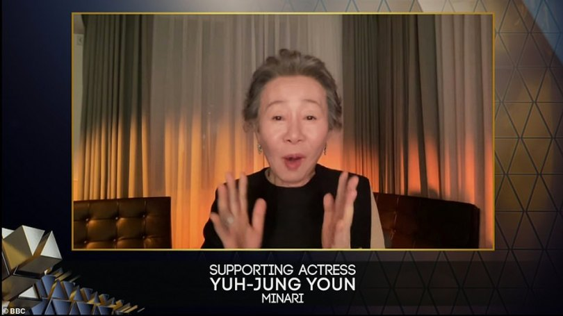 Over the moon!Elsewhere Yuh-Jung Young was awarded Best Supporting Actress for her work in Minari