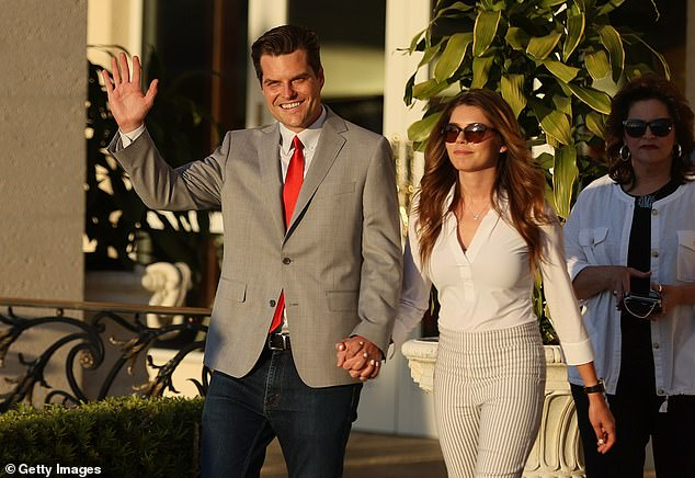 Gaetz was all smiles at his Friday Women for America First event as he was joined by fiancée Ginger Luckey, 26, whom he proposed to last December