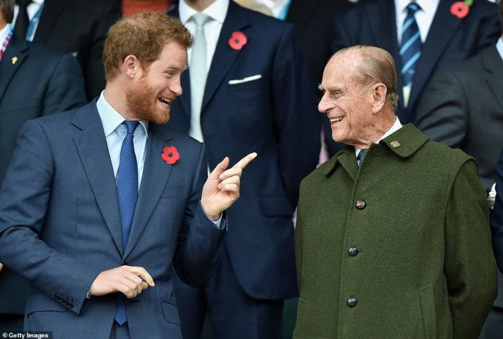 Prince Harry and Prince Philip, Duke of Edinburgh attend the 2015 Rugby World Cup Final match between New Zealand and Australia at Twickenham Stadium on October 31, 2015 in London