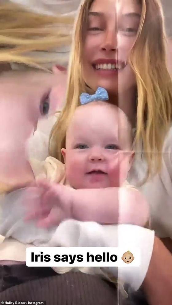 Waktu berkualitas: Hailey Bieber terlihat nongkrong dengan bayi keponakannya Iris dalam sebuah video yang dibagikan ke Instagram Story-nya pada hari Minggu.