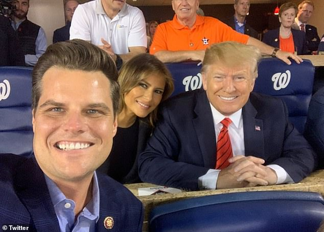Gaetz, seen taking a selfie with the former president, was reportedly snubbed by Trump