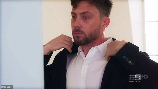 'I'm scared of telling Alana how I feel and her not feeling the same': The clip begins with Jason nervously adjusting his suit in the mirror as he prepares for the couple's final vows