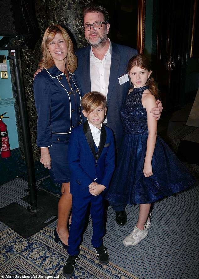 Garraway pictured with Derek, their daughter Darcey, 15, and son Billy, 11.Last week, Kate told viewers on Good Morning Britain: 'It has been wonderful having Derek at home'