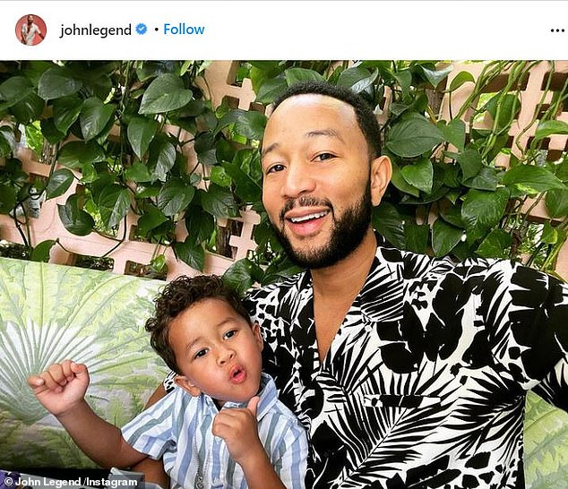 Family Man: The singer, 42, shares son Miles, two (pictured) and daughter Luna, four, with wife Chrissy Teigen