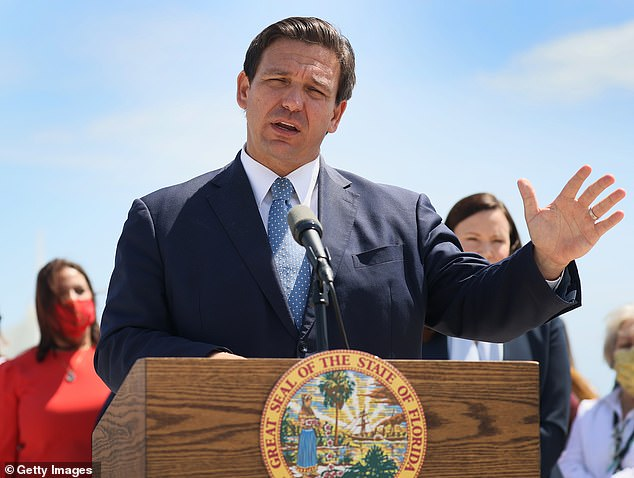 In Florida, Governor Ron DeSantis (pictured) banned businesses from requiring customers to prove they have been vaccinated