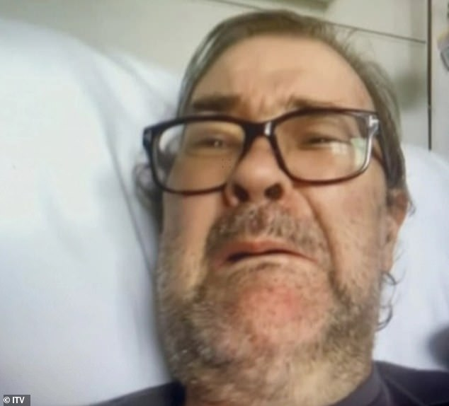 After more 373 days in hospital, Derek (pictured in hospital) was allowed home earlier this month. He has not regained his speech and remains seriously ill
