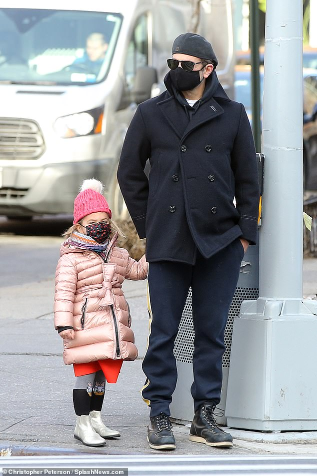 Doting: The duo's co-parenting plan states the two celebrities must reside in New York City (Bradley and Lea pictured in January)