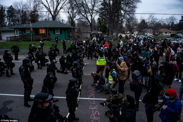 Protesters confront law enforcement on April 11, 2021 in Brooklyn Center, Minnesota