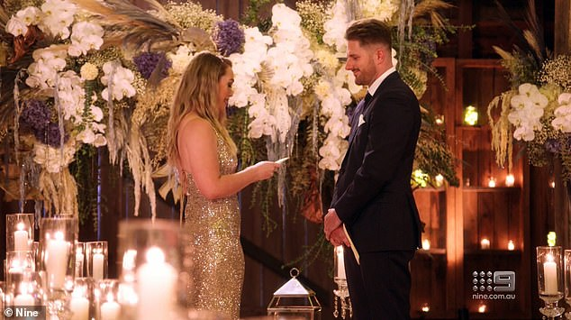 Love:On Monday's finale episode of Married At First Sight Australia, Bryce Ruthven told bride Melissa Rawson that he loves her - and wants a future with her. Both pictured