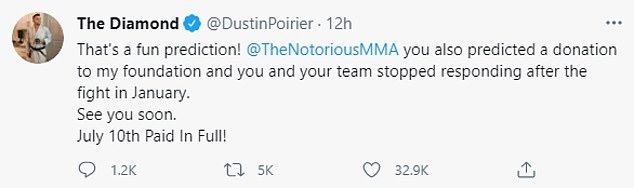 Diamond said McGregor stopped responding to the foundation after the January fight