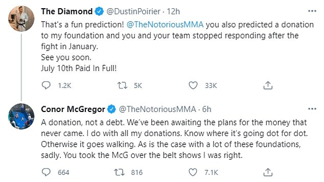 McGregor took to Twitter to clarify, saying the foundation had not indicated where the funds were going