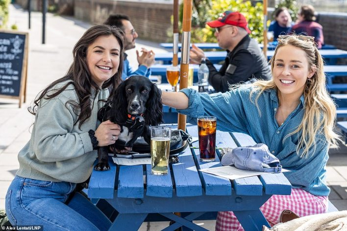 As England basked in sunshine this afternoon, pub goers Gabriella Lucena, 24, (left) and Gabrielle West, 28, (right) enjoyed a pint and a soft drink by the Thames at Hammersmith, West London with one-year-old Cocker Spaniel Lola