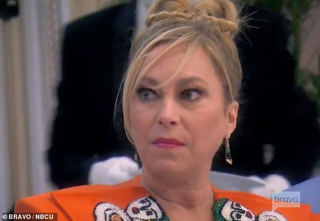 Getting in the neck: Sutton is the target of Erika's rage and anger at dinner