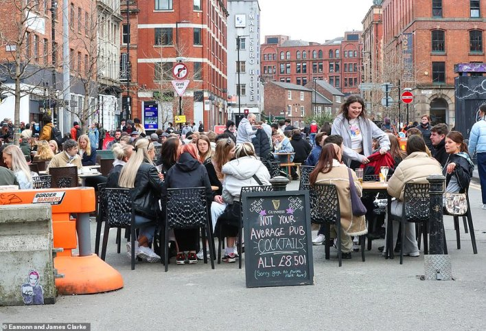 It was a similar picture in Manchester today as tables were set out in the streets of the city centre - with special cocktail deals being advertised