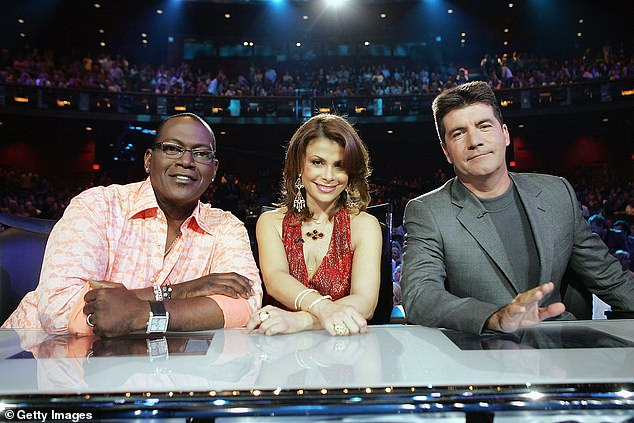Blast from the past:Former Idol judge Paula Abdul, who launched the series with Simon Cowell in 2002, stepped in for Bryan. Also seen here is Randy Jackson, far left, in 2005
