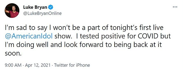 Sad times:Bryan revealed his health condition on social media on Monday. 'I'm sad to say I won't be a part of tonight's first live @americanidol show. I tested positive for Covid but I'm doing well and look forward to being back at it soon'