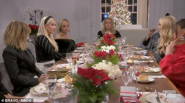 Tense table setting: Elsewhere in the explosive trailer, Erika is questioned by the Housewives over her divorce and legal drama