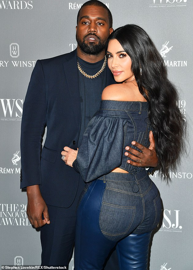 End of the road: Kim finally filed for divorce in February after about a month of rumors that she and Kanye West were about to break up;  photographed in 2019