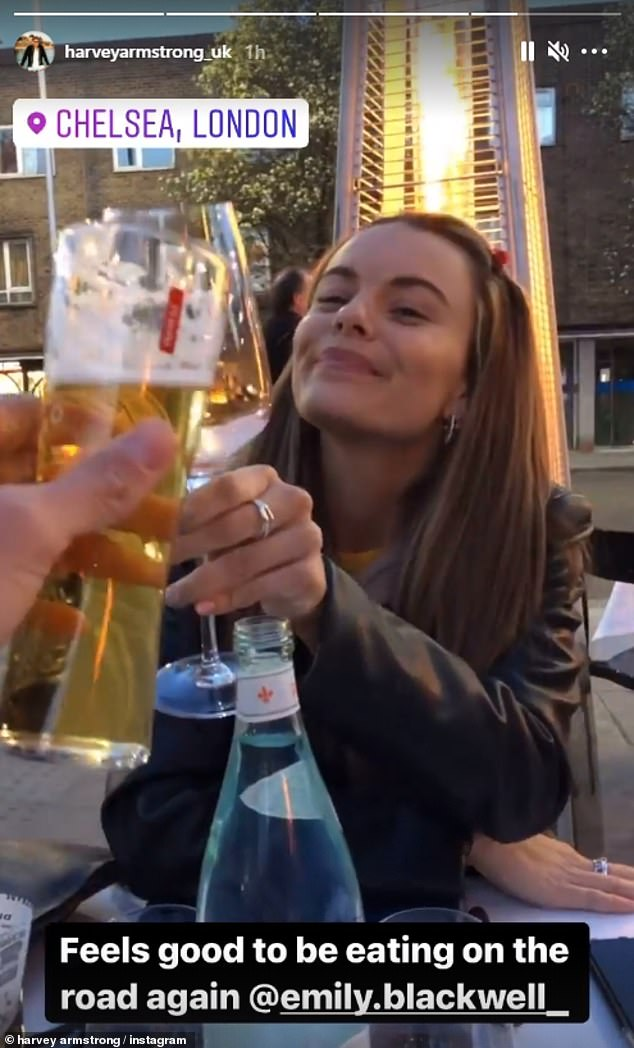 Alfresco!Co-stars Harvey Armstrong and Emily Blackwell were also out raising a glass in Chelsea. 'Feels good to be eating on the road again!' Harvey captioned a video, posted to Instagram