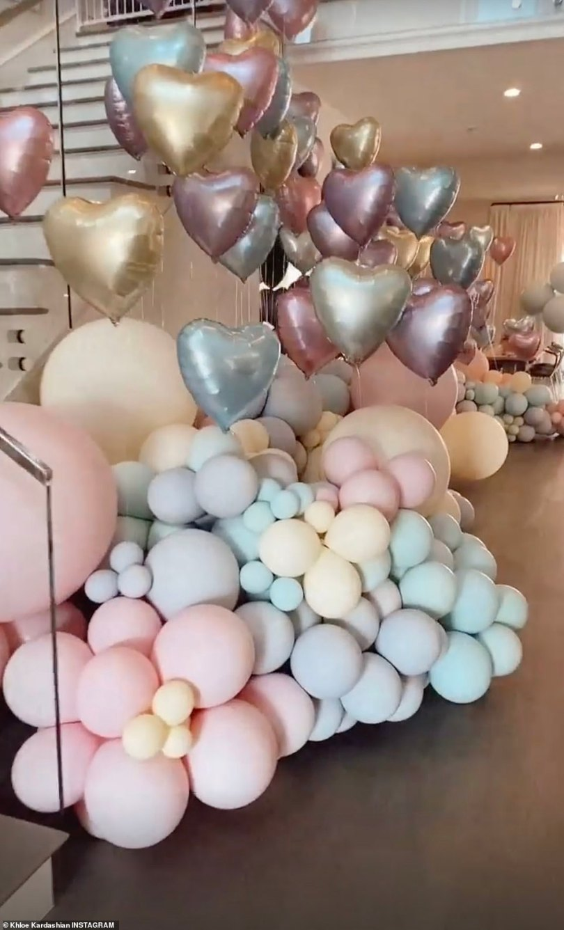 Party fit for a princess:There were hundreds of pastel colored balloons in a variety of sizes at the entrance of the party with even more inside