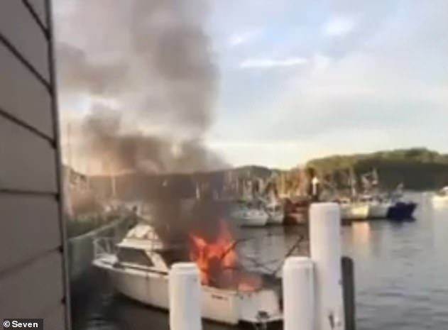 Emergency services rushed to the scene where they found a total of eight people injured and the boat engulfed in flames