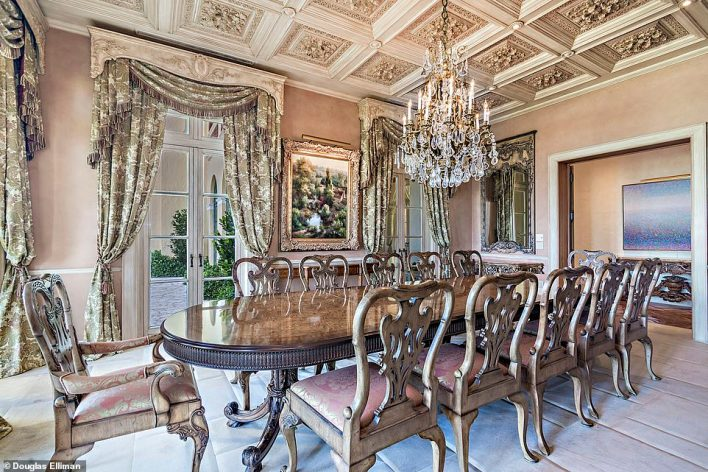 A dinner for twelve is not a problem with this lengthy dining table and a dozen chairs