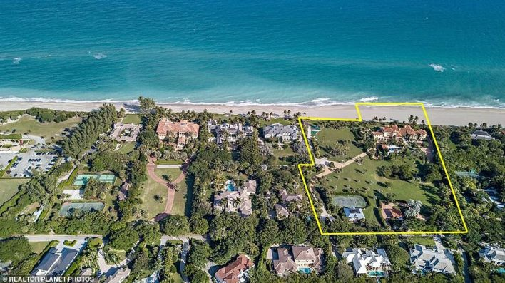 Special features include 4 acres of land, and 520 feet of ocean frontage inside a gated community with 24-hour security