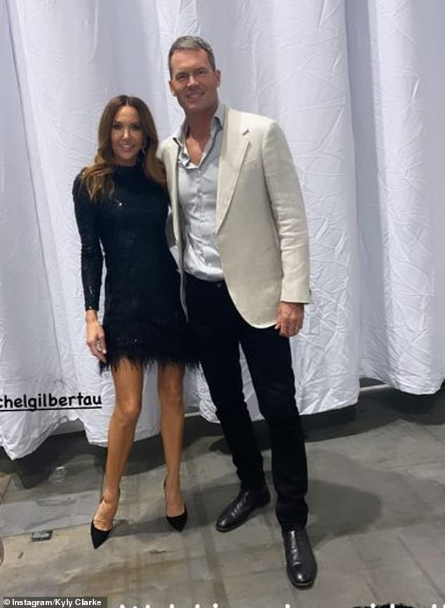 Legs eleven... out of ten! Clarke showed off her very toned pins in a sparkly mini dress on the set of Dancing With The Stars on Monday night as she watched her fellow co-stars, including Tom Williams (pictured), perform