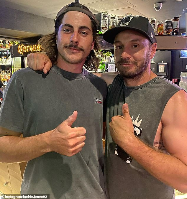 Lachie Jones' (pictured left) distinctive mullet hairstyle and bristling moustache has made him a fan favourite with Port Adelaide fans - after just one senior AFL game