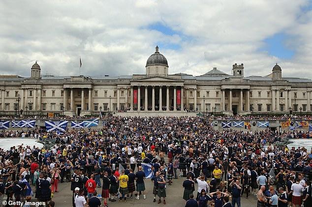 Scotland fans gather in Trafalgar Square ahead of their match against England back in 2013