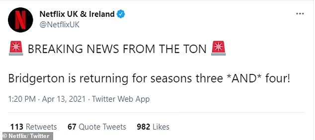 Exciting: Netflix announced some exciting news on Twitter on Tuesday, sharing the rather apt announcement: `` Latest from the ton!  Bridgerton returns for seasons three * AND * four!  '