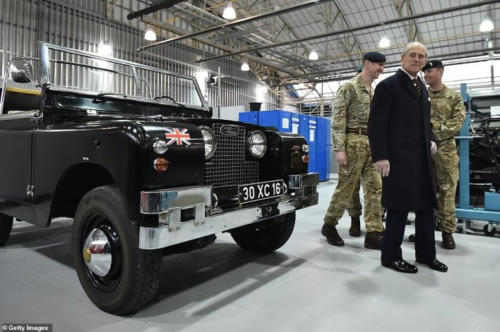 Prince Philip was Colonel-in-Chief of the Royal Electrical and Mechanical Engineers (REME), who are based at MOD Lyneham in Wiltshire (pictured), who have maintained the hybrid vehicles
