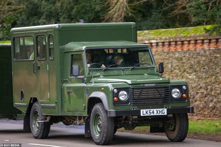 A team of Army engineers are said to have been working on Land Rovers modified by Philip to be a hearse as soon as he was admitted to hospital two months ago. The Duke helped design two - one black and one green. Prince Phillip's Land Rover Defender 130 Gun Bus pictured being driven around Sandringham in Norfolk by Princess Anne's husband Timothy Laurence in 2020, and is likely to be a similar design to the hearse