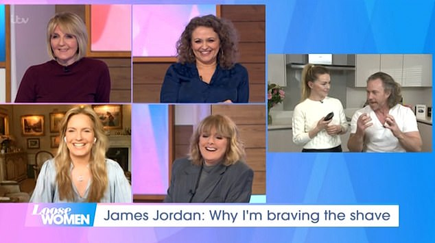 On air:Speaking to presenters Nadia Sawalha (top right), Kaye Adams (top left), Jane Moore (bottom right) and Penny Lancaster, James said: 'I'm going to miss my hair'