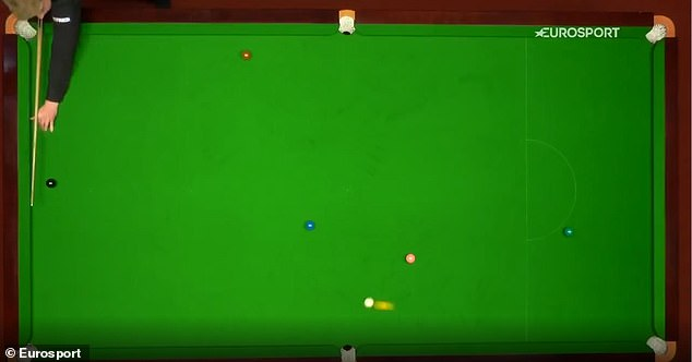 Somehow, the cue ball struck the yellow ball and spared him a penalty in the tense qualifier