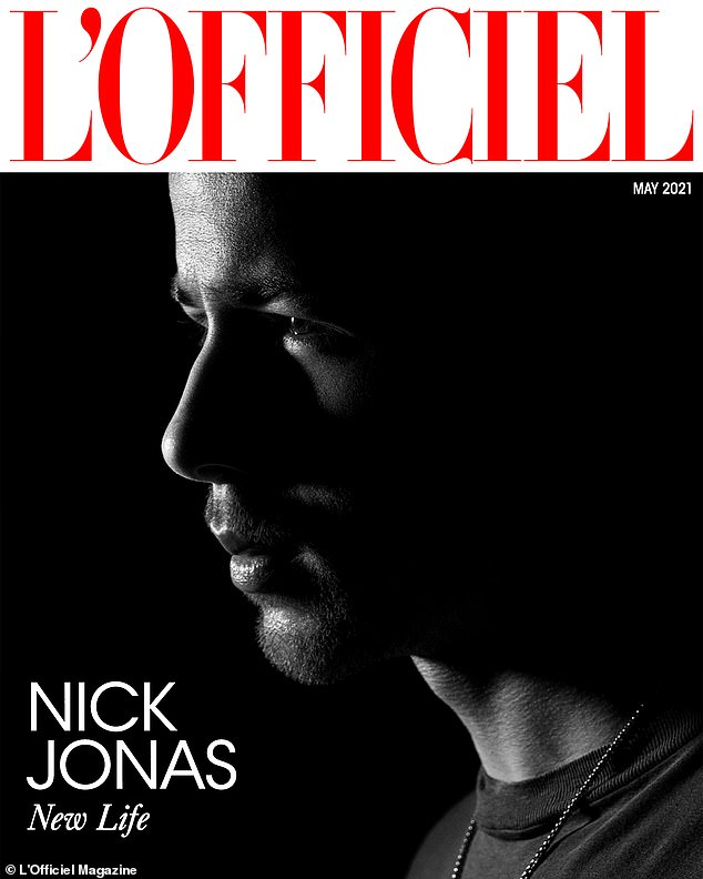 Inspired: In an interview for the May issue of L'Officiel, which he also covers, Nick said he feels 'fortunate' to have Priyanka as his muse and inspiration. They married in December 2018