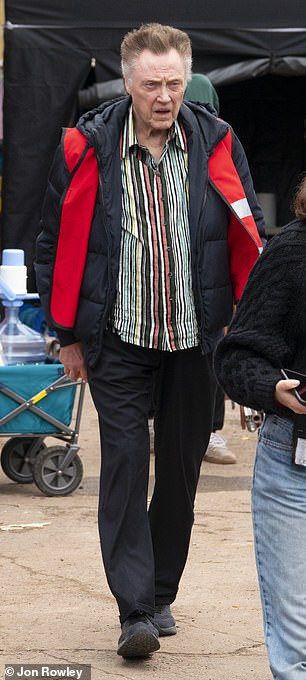 Main man: Christopher Walken was also seen on set as he prepared to shoot his scenes