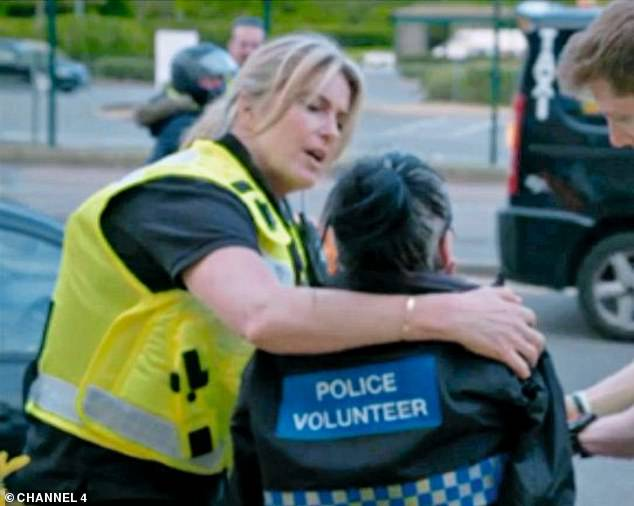 New career: In 2019, the TV star took part in Famous and Fighting Crime, where she was seen working with Cambridgeshire Police (pictured comforting a member of the public)
