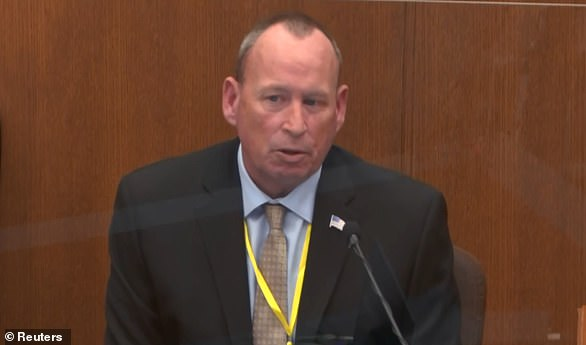 Retired Minneapolis Police Officer Scott Creighton (pictured) testified about what he witnessed of Floyd during an arrest on May 6, 2019