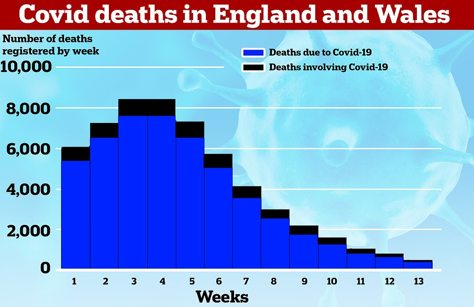 According to figures from the Office for National Statistics (ONS), 23 per cent of Covid deaths registered are now people who have died 'with' the disease rather than 'from' an infection and ensuing illness. This means that the person who has died will have tested positive but that the disease was not ultimately recorded as the victim's primary cause of death