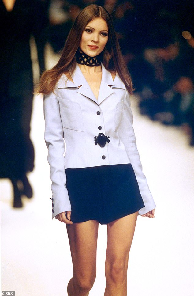 Long ago: Kate photographed a similar blazer mini dress in 1993