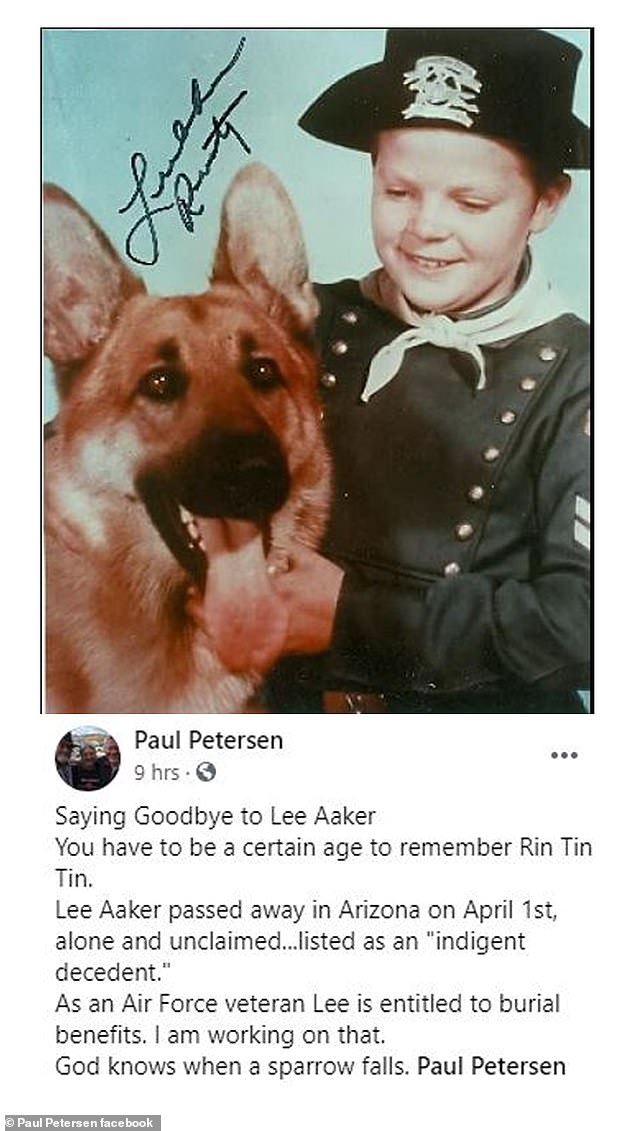 RIP: Lee Aaker has passed away at 77.  His death on April 1 in Arizona was announced Tuesday by former child actor-turned-lawyer Pete Petersen on Facebook.