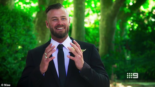 No show!  The reunion dinner brought together all of this year's brides except FIFO worker Jaimie Gardner's ex-husband Christopher Jensen (pictured)