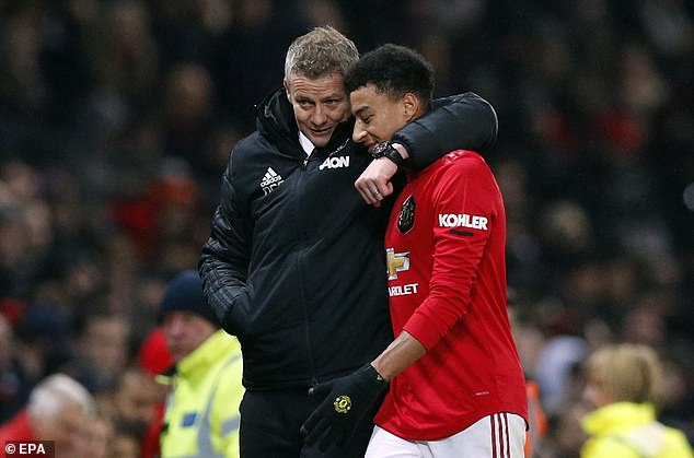 Lingard didn't feature regularly under Ole Gunnar Solskjaer (left) but the United manager has been criticised for not rotating enough in a demanding season