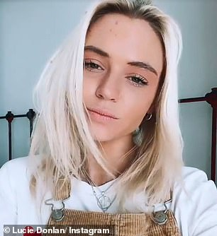 New look: Lucie looked stunning as she filmed herself showing off her shorter hair on her stories, with the star waving and playing with her hair as she did