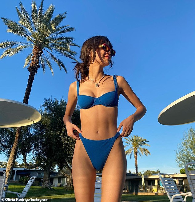 Ready for summer: Olivia Rodrigo posed in a bikini earlier this month before unveiling her track list for her studio album debut on Tuesday