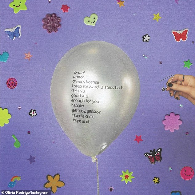 For May: There was also a silver balloon that had the track list on it. Olivia wrote on Instagram: 'My debut album SOUR out may 21st ahhhhhhhh'