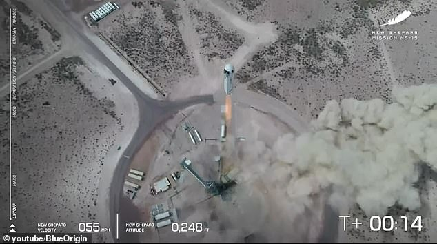 `` God is speeding up New Shepard, '' Arian Cornell, director of astronauts and orbital sales, said during the live broadcast moments before the huge rocket fires up its engines and takes off around 12:48 p.m. ET.
