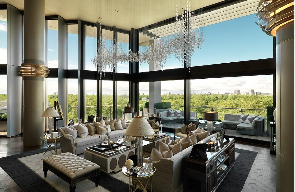 The penthouse in London's Knightsbridge district overlooks Hyde Park and boasts a wine cellar and a 21m swimming pool