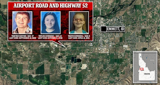 This map shows the area near Airport Road and Highway 52 in Emmett where all three children had gone missing between September 2020 and April 12, 2021